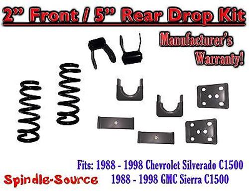 "1988 - 1998 Chevrolet GMC C1500 2"" front / 5"" rear Drop Lowering Kit 2/5 88 - 98"