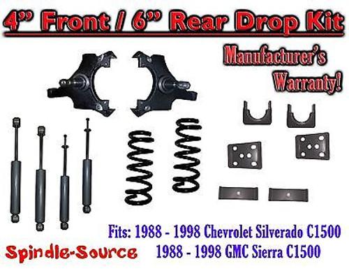 "1988 - 1998 Chevrolet GMC C1500 4"" front 6"" rear Drop Lowering Kit 4/6 + SHOCKS"