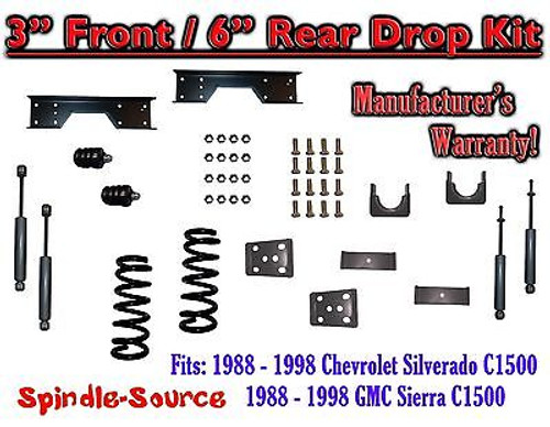 "1988 - 1998 Chevy GMC C1500 3"" F 6"" rear Drop Lowering Kit 3/6 + SHOCKS + NOTCH"