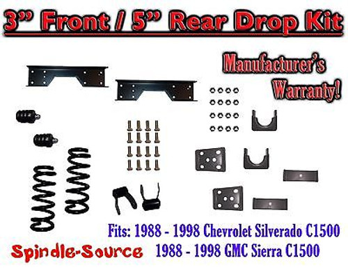 """1988 - 1998 Chevy GMC C1500 3"""" front / 5"""" rear Drop Lowering Kit 3/5 + NOTCH"""