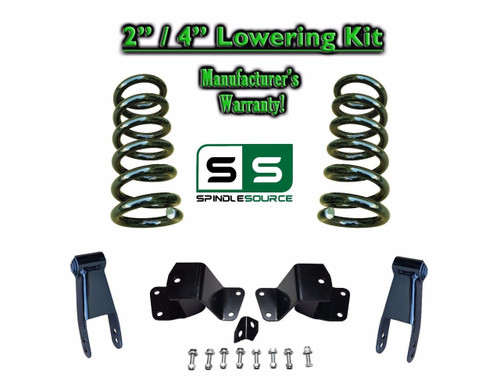 "1988 - 1998 Chevrolet GMC C1500 V6 2"" / 4"" Drop Kit 2/4 Coils Hanger Shackles"