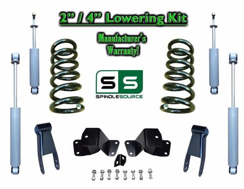 """1988 - 1998 Chevrolet GMC C1500 V8 2"""" / 4"""" Drop Kit 2/4 Coils Hanger + SHOCKS"""