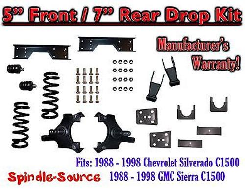 "1988 - 1998 Chevy GMC C1500 5"" F 7"" rear Drop Lowering Kit 5/7 + C-NOTCH Kit"