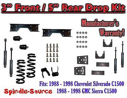 "1988 - 1998 Chevy GMC C1500 3"" F 5"" rear Drop Lowering Kit 3/5 + SHOCKS + NOTCH"