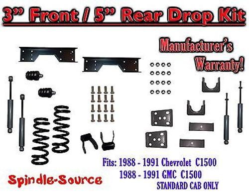 "1988 - 91 Chevy GMC C1500 3"" 5"" Drop Lowering Kit 3/5 STANDARD CAB+ SHOCKS NOTCH"
