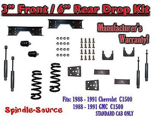 "1988 - 91 Chevy GMC C1500 3"" 6"" Drop Lowering Kit 3/6 STANDARD CAB+ SHOCKS NOTCH"