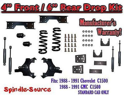 "1988 - 91 Chevy GMC C1500 4"" 6"" Drop Lowering Kit 4/6 STANDARD CAB+ SHOCKS NOTCH"