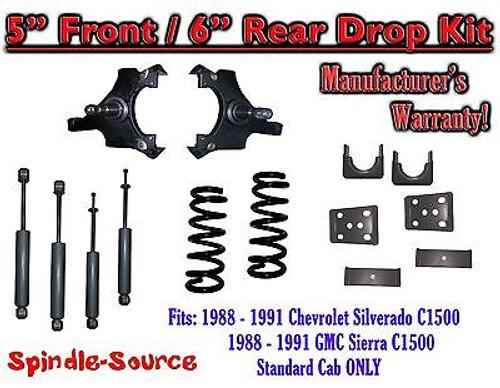 "1988 - 91 Chevrolet GMC C1500 5"" 6"" Drop Lowering Kit 5/6 STANDARD CAB + SHOCKS"