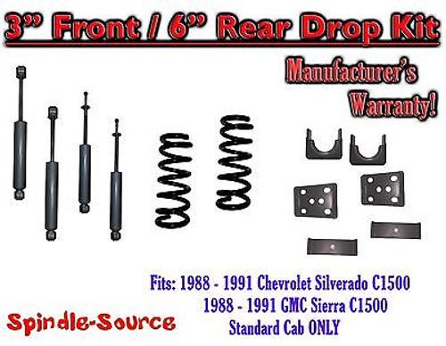 "1988 - 91 Chevrolet GMC C1500 3"" 6"" Drop Lowering Kit 3/6 STANDARD CAB + SHOCKS"