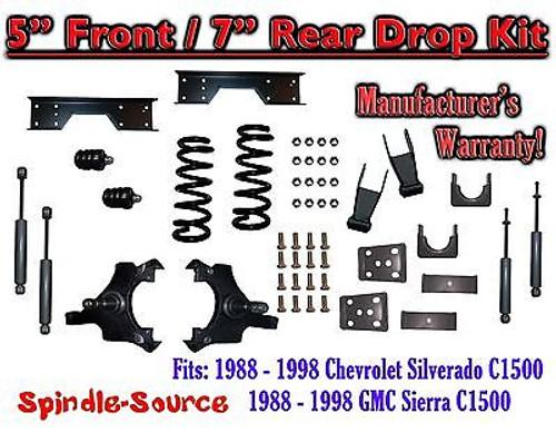 "1988 - 1998 Chevy GMC C1500 5"" F 7"" rear Drop Lowering Kit 5/7 + SHOCKS + NOTCH"