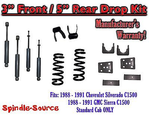 "1988 - 91 Chevrolet GMC C1500 3"" 5"" Drop Lowering Kit 3/5 STANDARD CAB + SHOCKS"