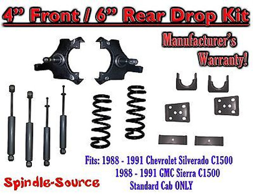 "1988 - 91 Chevrolet GMC C1500 4"" 6"" Drop Lowering Kit 4/6 STANDARD CAB + SHOCKS"