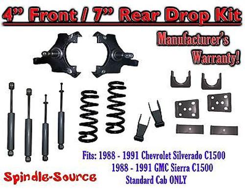 "1988 - 91 Chevrolet GMC C1500 4"" 7"" Drop Lowering Kit 4/7 STANDARD CAB + SHOCKS"