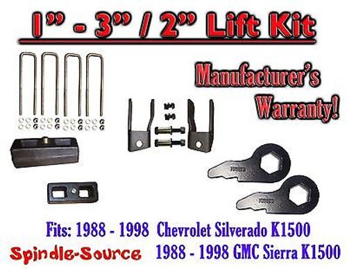 "1988 - 98 Chevrolet GMC 1500 Torsion Level 1"" - 3"" FORGED KEYS + EXT + 2"" Blocks"