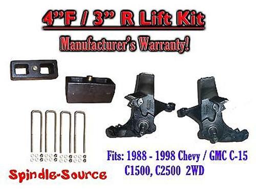 "1988 -1998 Chevy / GMC C15 C1500 C2500 2WD 4"" Lift Lifting Spindles + 3"" Blocks"