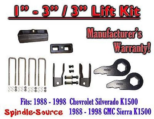 "1988 - 98 Chevrolet GMC 1500 Torsion Level 1"" - 3"" FORGED KEYS + EXT + 3"" Blocks"
