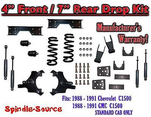 "1988 - 91 Chevy GMC C1500 4"" 7"" Drop Lowering Kit 4/7 STANDARD CAB+ SHOCKS NOTCH"