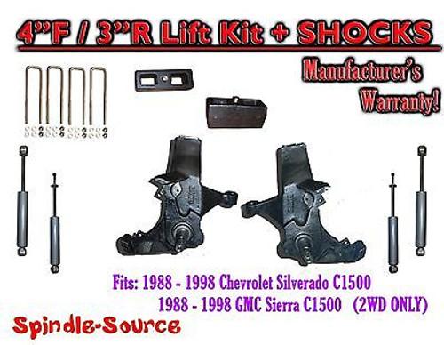 "1988 -1998 Chevy / GMC C15 C1500 C2500 2WD 4"" Lift Spindles + 3"" Blocks + SHOCKS"