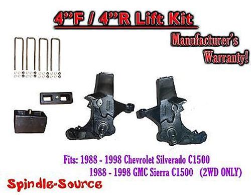 "1988 -1998 Chevy / GMC C15 C1500 C2500 2WD 4"" Lift Spindles + 4"" Blocks 4/4"