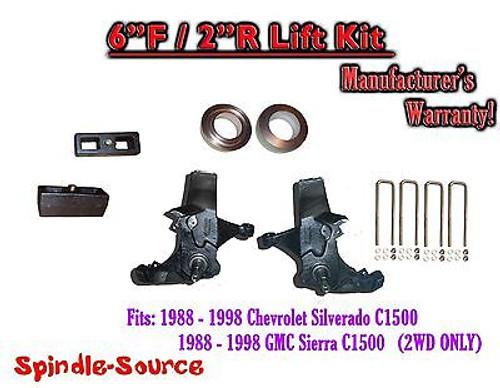 """1988 -1998 Chevy GMC C15 C1500 C2500 2WD 6"""" / 2"""" Spindle Blocks Spacer Lift Kit"""