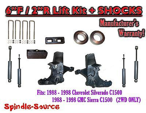 """1988 -1998 Chevy / GMC C15 C1500 C2500 2WD 6"""" / 2"""" Spindle Lift Kit + SHOCKS"""