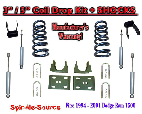 "1994 - 2001 Dodge Ram 1500 V6 Ext Cab 2WD 3"" / 5"" Drop Lowering Kit + SHOCKS"