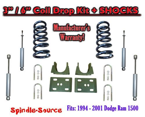 "1994 - 2001 Dodge Ram 1500 V6 Ext Cab 2WD 3"" / 6"" Drop Lowering Kit + SHOCKS"
