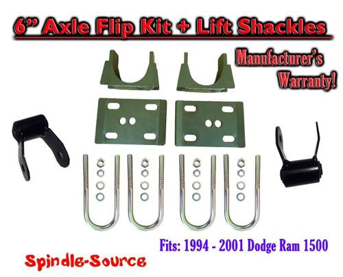 """1994 - 2001 Dodge Ram 1500 5"""" Inch Lowering Drop REAR AXLE FLIP KIT U-bolt 94-01"""