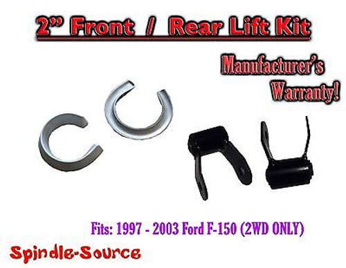 """1997 - 03 Ford F-150 2"""" Coil Spacers + 1.75"""" Rear Shackles 2"""" / 1.75"""" Lift Kit"""