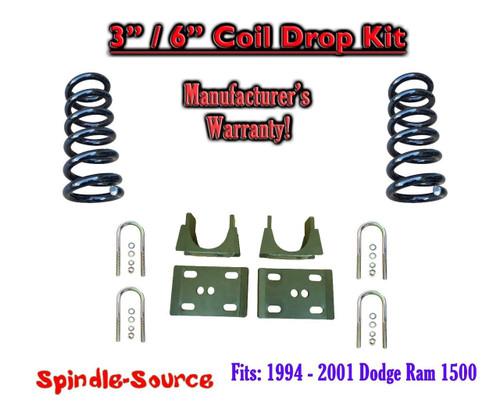 """1994 - 2001 Dodge Ram 1500 V6 Reg Cab 2WD 3"""" / 6"""" Drop Lowering Kit Coils"""