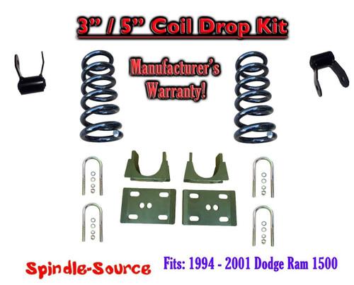 "1994 - 2001 Dodge Ram 1500 V8 Reg / Std Cab 2WD 3"" / 5"" Drop Lowering Kit Coils"