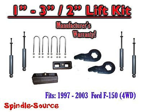 "1997 - 2003 Ford F-150 1"" - 3"" / 2"" Keys Blocks Lift Level Kit FORGED + SHOCKS"
