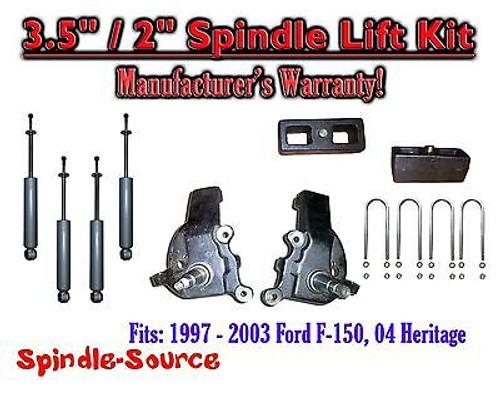 """1997 - 2003 Ford F-150 F150 2WD 3.5"""" / 2"""" Spindles blocks LIFT KIT + SHOCKS"""