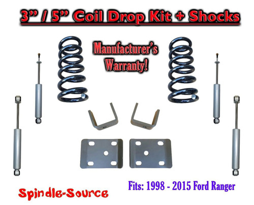 """1998 - 2015 Ford Ranger 4 Cyl. Ext Cab 2WD 3"""" / 5"""" Drop Lowering Kit + SHOCKS"""