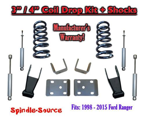 "1998 - 2015 Ford Ranger 4 Cyl Reg Cab 2WD 3"" / 4"" Drop Lowering Kit + SHOCKS"
