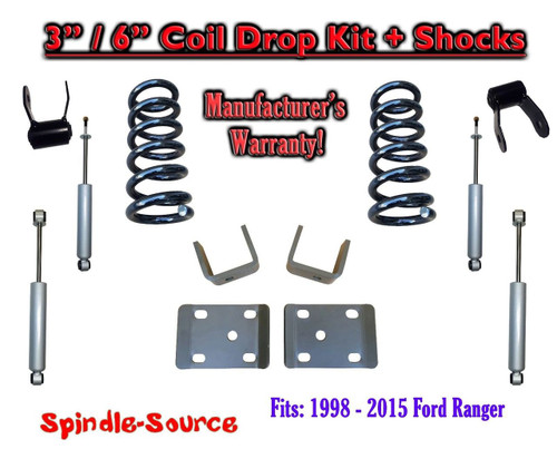 """1998 - 2015 Ford Ranger 4 Cyl. Ext Cab 2WD 3"""" / 6"""" Drop Lowering Kit + SHOCKS"""