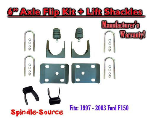 """1997 - 2003 Ford F150 F-150 5"""" Inch Lowering Drop REAR AXLE FLIP KIT U-bolts"""