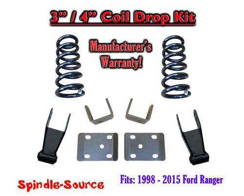 "1998 - 2015 Ford Ranger 4 Cylinder Reg Cab 2WD 3"" / 4"" Drop Lowering Kit Coils"