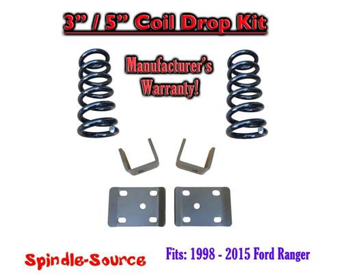 "1998 - 2015 Ford Ranger V6 Reg Cab 2WD 3"" / 5"" Drop Lowering Kit Coils"