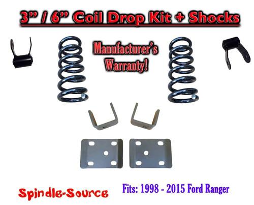 "1998 - 2015 Ford Ranger V6 Reg / Std Cab 2WD 3"" / 6"" Drop Lowering Kit Coils"