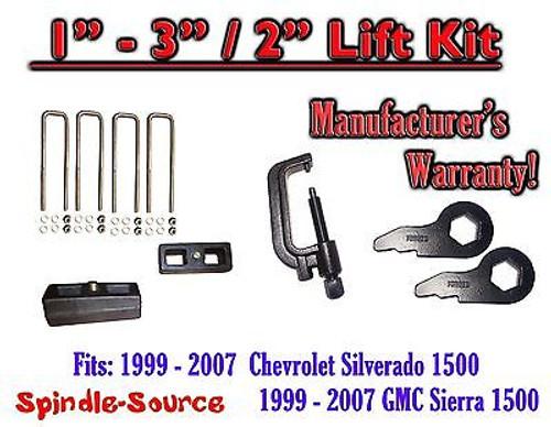 "1999 - 2006 CHEVY GMC 1500 Silverado Sierra 1 - 3"" Keys + TOOL + 2"" Rear Block"
