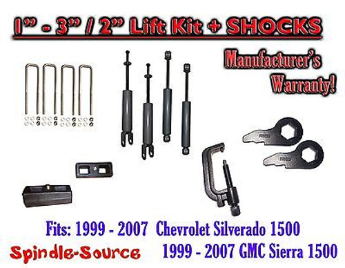 "1999 - 2006 CHEVY GMC 1500 Silverado Sierra 1 - 3"" Keys / 2"" Kit + TOOL + SHOCKS"