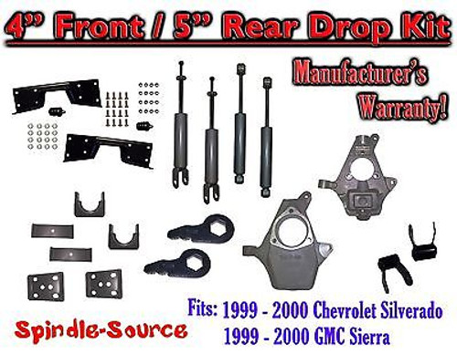 "1999 - 2000 Chevy Silverado GMC Sierra 1500 4WD 4"" / 5"" Drop Kit, Shocks, NOTCH"