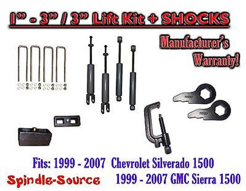 "1999 - 2006 CHEVY GMC 1500 Silverado Sierra 1 - 3"" Keys / 3"" Kit + TOOL + SHOCKS"