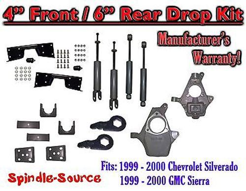 "1999 - 2000 Chevy Silverado GMC Sierra 1500 4WD 4"" / 6"" Drop Kit, Shocks, NOTCH"