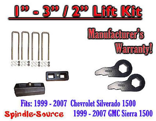 "1999 - 2006 CHEVY Silverado GMC 1500 Sierra 1 - 3"" Keys + 2"" Rear Block"