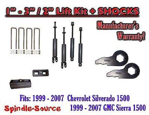 """1999 - 2006 CHEVY GMC 1500 Silverado Sierra 1-3"""" Keys / 2"""" Leveling Kit + SHOCKS"""
