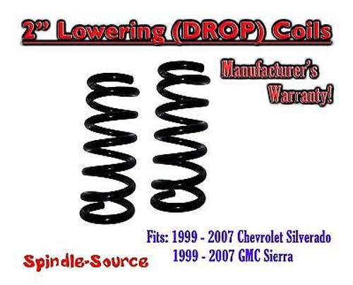 "1999 - 2006 Chevy Silverado Sierra 1500 V8 2"" Lowering Drop Coils Springs Kit"