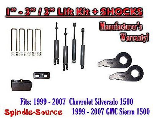 """1999 - 2006 CHEVY GMC 1500 Silverado Sierra 1-3"""" Keys / 3"""" Leveling Kit + SHOCKS"""
