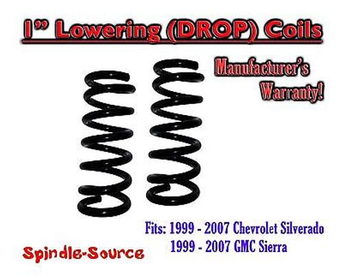 "1999 - 2006 Chevy Silverado GMC Sierra 1500 V6 1"" Lowering Drop Coils Spring Kit"